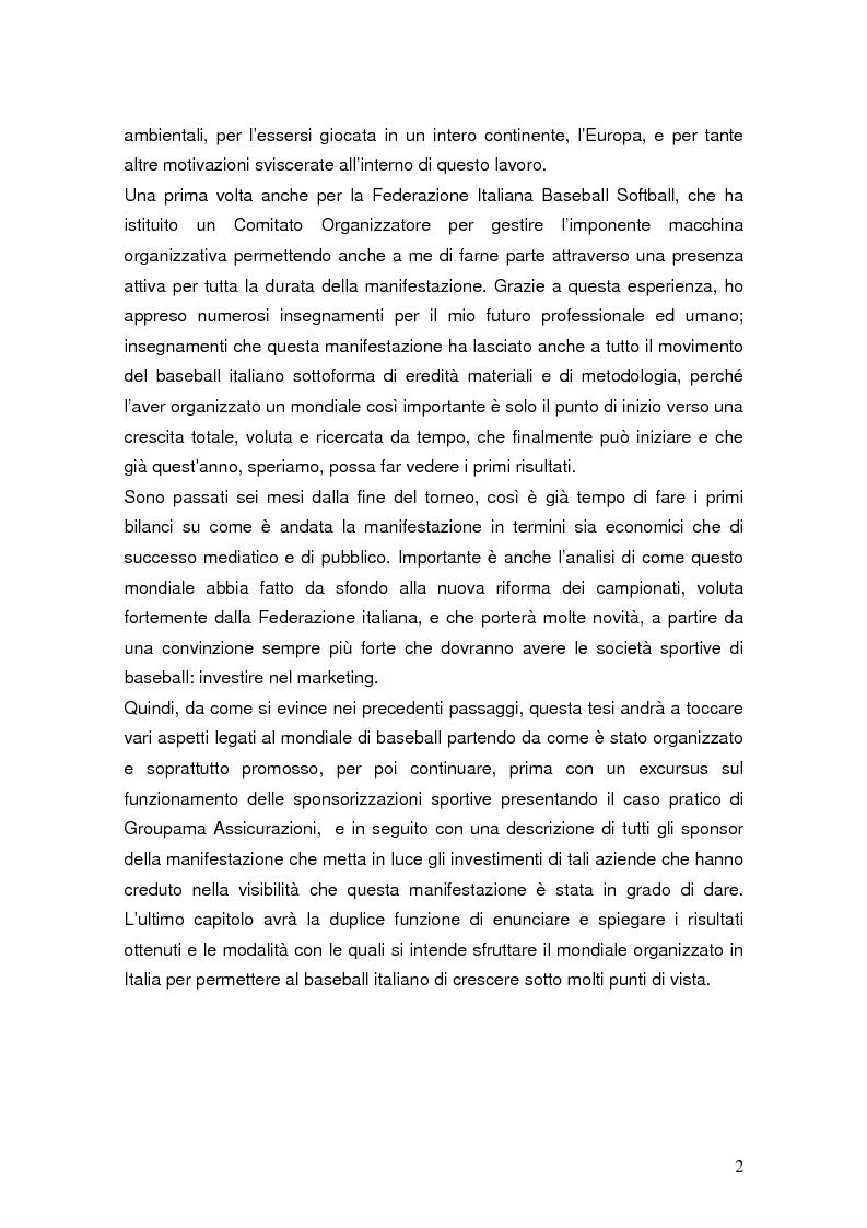 Anteprima della tesi: Il mondiale di baseball in Italia: l'evento come traino di una pratica sportiva emergente, Pagina 2
