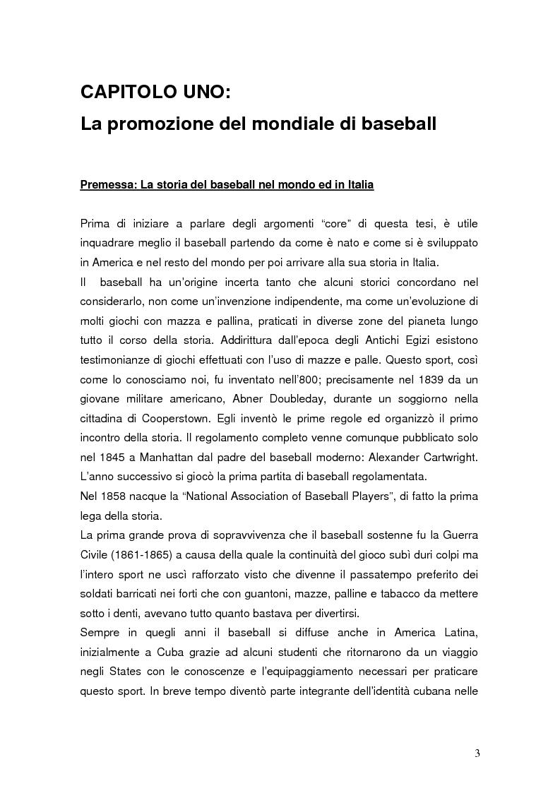 Anteprima della tesi: Il mondiale di baseball in Italia: l'evento come traino di una pratica sportiva emergente, Pagina 3