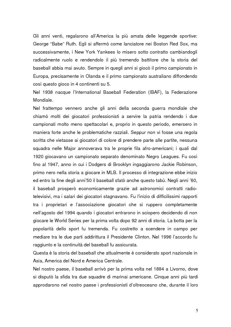 Anteprima della tesi: Il mondiale di baseball in Italia: l'evento come traino di una pratica sportiva emergente, Pagina 5