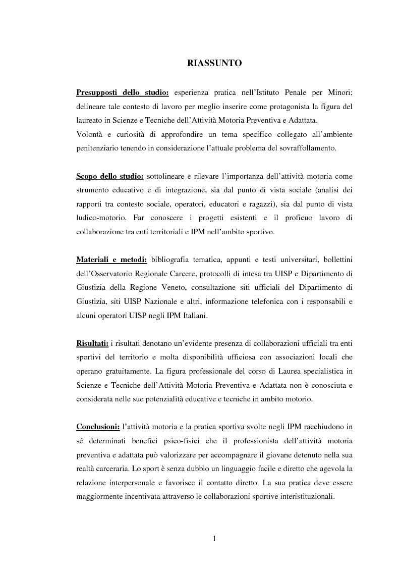 Anteprima della tesi: L'attività motoria all'interno dell'I.P.M. come strumento di integrazione psico-fisica, Pagina 1