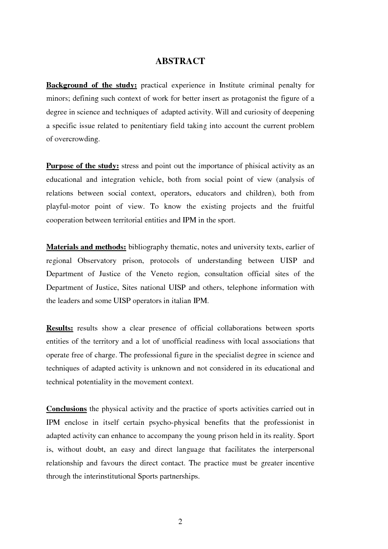 Anteprima della tesi: L'attività motoria all'interno dell'I.P.M. come strumento di integrazione psico-fisica, Pagina 2