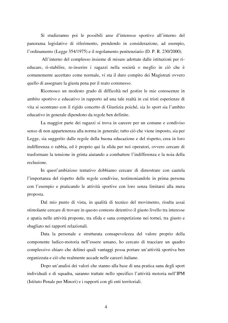 Anteprima della tesi: L'attività motoria all'interno dell'I.P.M. come strumento di integrazione psico-fisica, Pagina 4