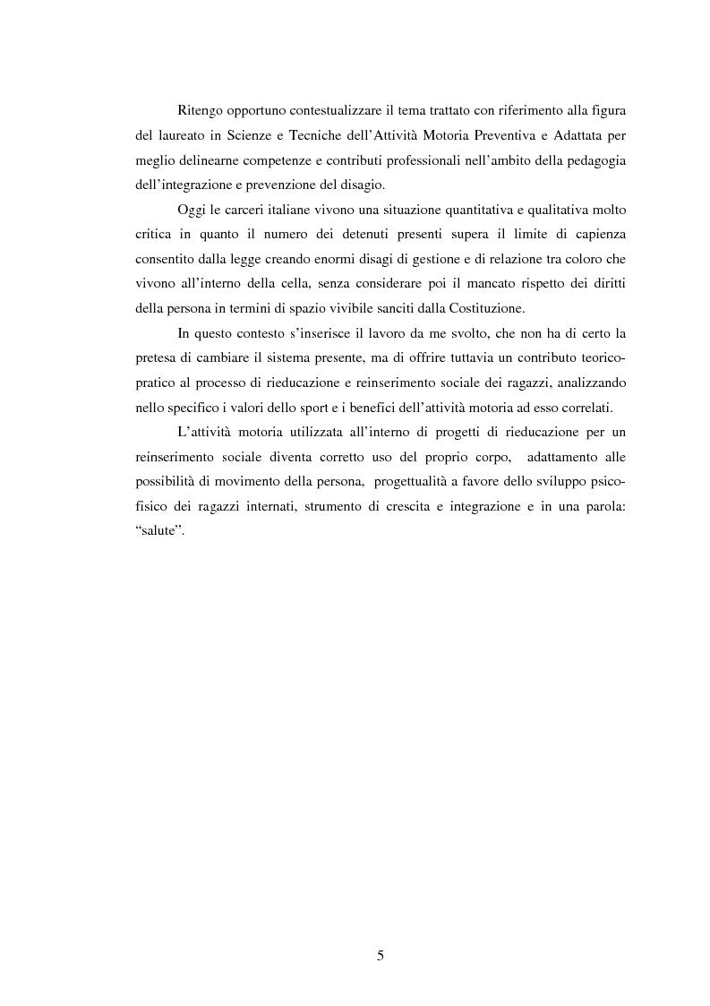Anteprima della tesi: L'attività motoria all'interno dell'I.P.M. come strumento di integrazione psico-fisica, Pagina 5