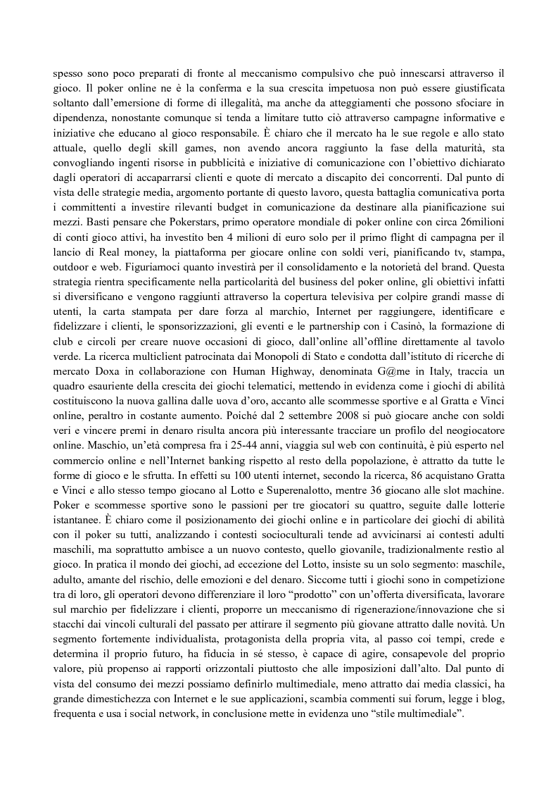 Anteprima della tesi: Il media planning nel mercato dei giochi di abilità a distanza: il fenomeno del poker online, Pagina 3