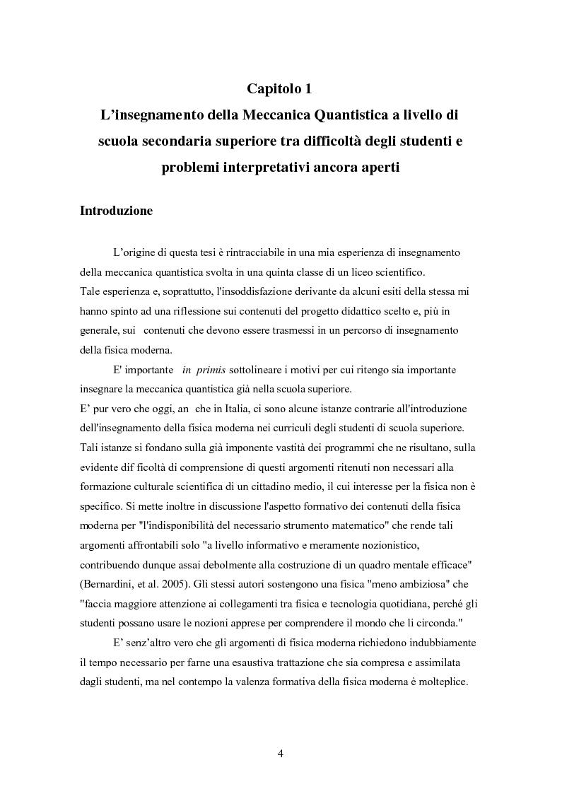 Anteprima della tesi: Un progetto di insegnamento della meccanica quantistica a livello di scuola secondaria superiore: alla ricerca di un formalismo possibile, Pagina 4