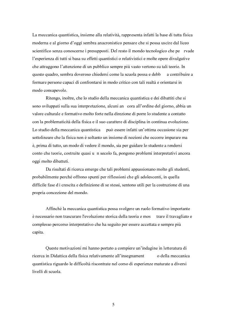 Anteprima della tesi: Un progetto di insegnamento della meccanica quantistica a livello di scuola secondaria superiore: alla ricerca di un formalismo possibile, Pagina 5