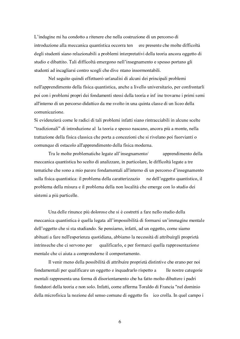 Anteprima della tesi: Un progetto di insegnamento della meccanica quantistica a livello di scuola secondaria superiore: alla ricerca di un formalismo possibile, Pagina 6
