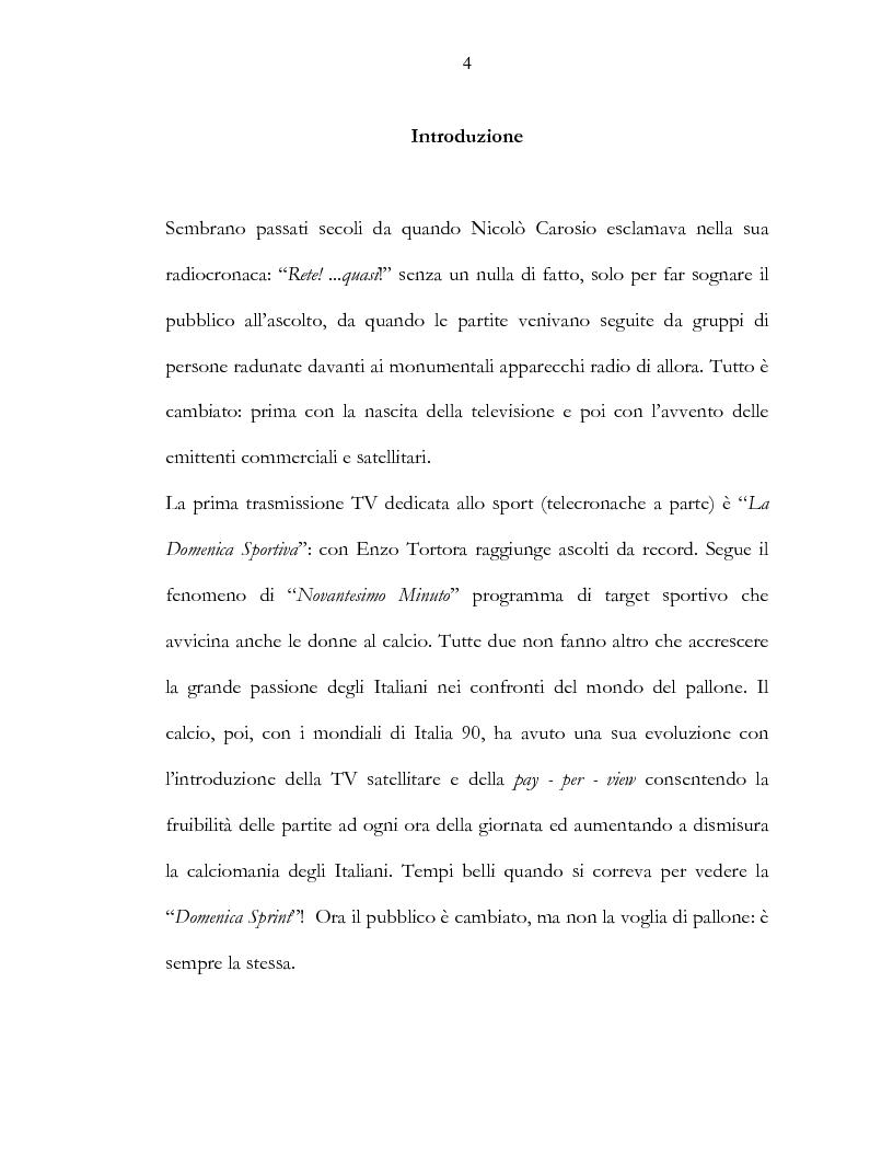 Anteprima della tesi: Il calcio e la televisione, Pagina 1
