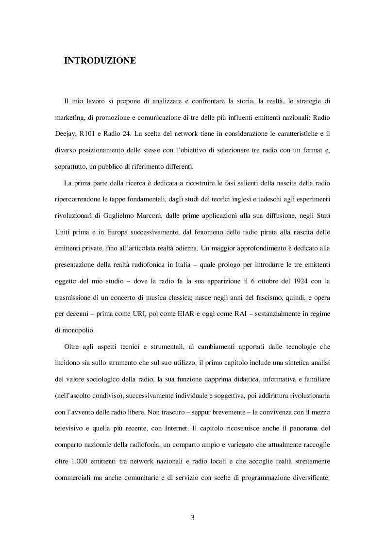 Anteprima della tesi: Radio Deejay, R101 e Radio 24 - A confronto tre strategie di successo nel panorama radiofonico nazionale, Pagina 1