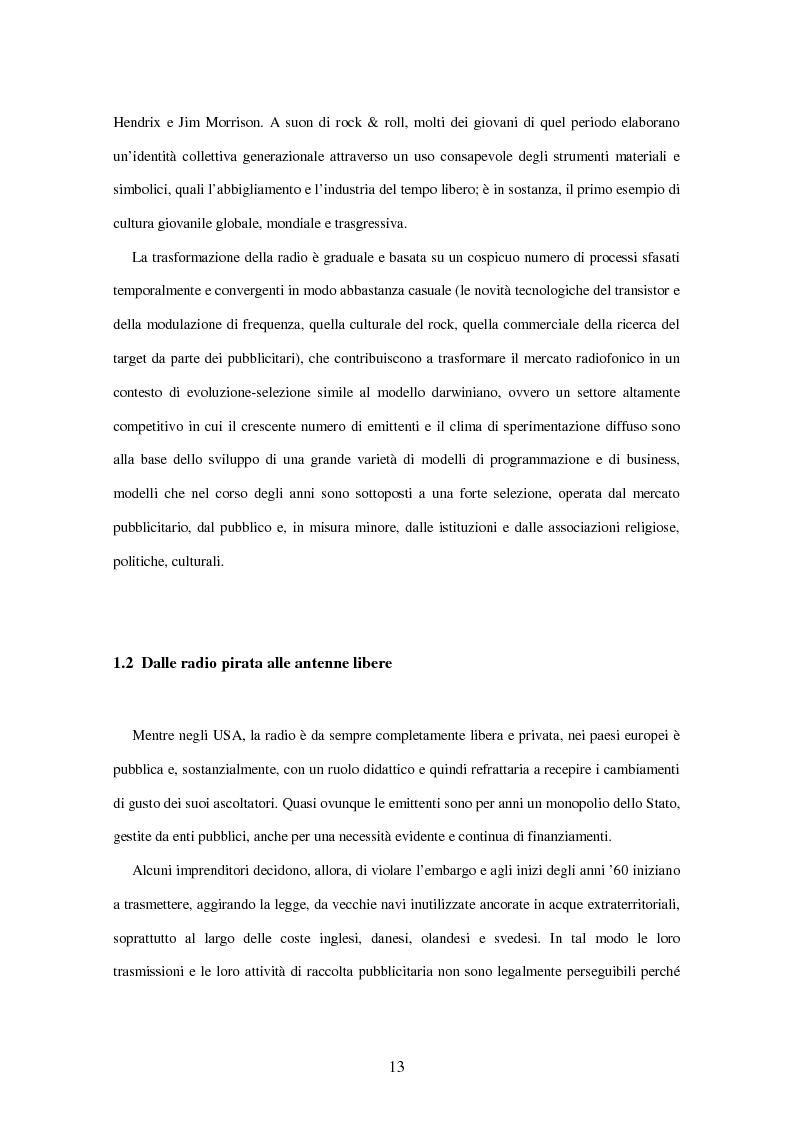 Anteprima della tesi: Radio Deejay, R101 e Radio 24 - A confronto tre strategie di successo nel panorama radiofonico nazionale, Pagina 11