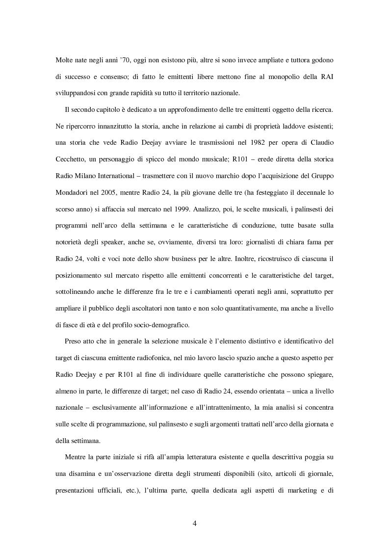 Anteprima della tesi: Radio Deejay, R101 e Radio 24 - A confronto tre strategie di successo nel panorama radiofonico nazionale, Pagina 2