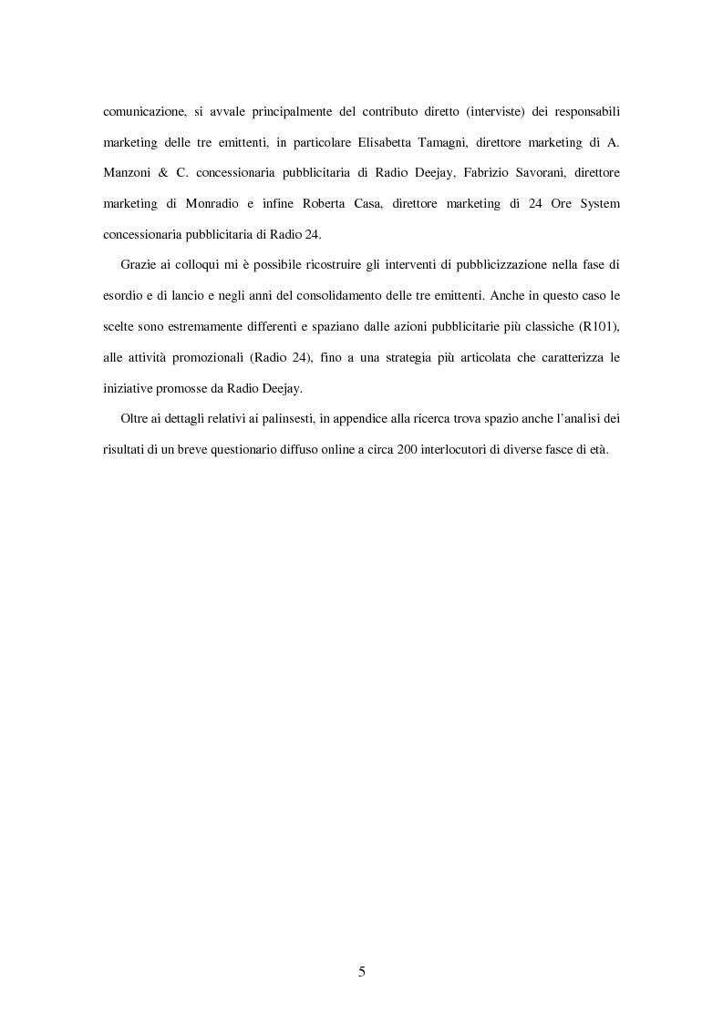 Anteprima della tesi: Radio Deejay, R101 e Radio 24 - A confronto tre strategie di successo nel panorama radiofonico nazionale, Pagina 3