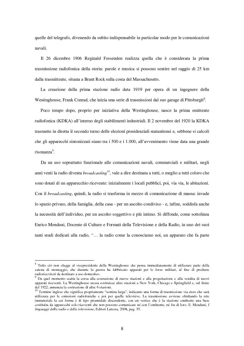 Anteprima della tesi: Radio Deejay, R101 e Radio 24 - A confronto tre strategie di successo nel panorama radiofonico nazionale, Pagina 6