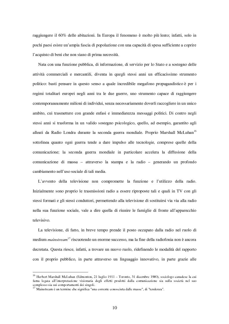 Anteprima della tesi: Radio Deejay, R101 e Radio 24 - A confronto tre strategie di successo nel panorama radiofonico nazionale, Pagina 8