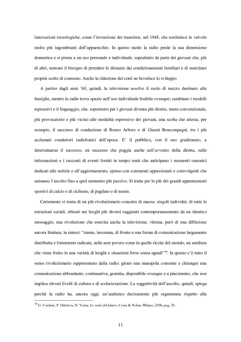 Anteprima della tesi: Radio Deejay, R101 e Radio 24 - A confronto tre strategie di successo nel panorama radiofonico nazionale, Pagina 9