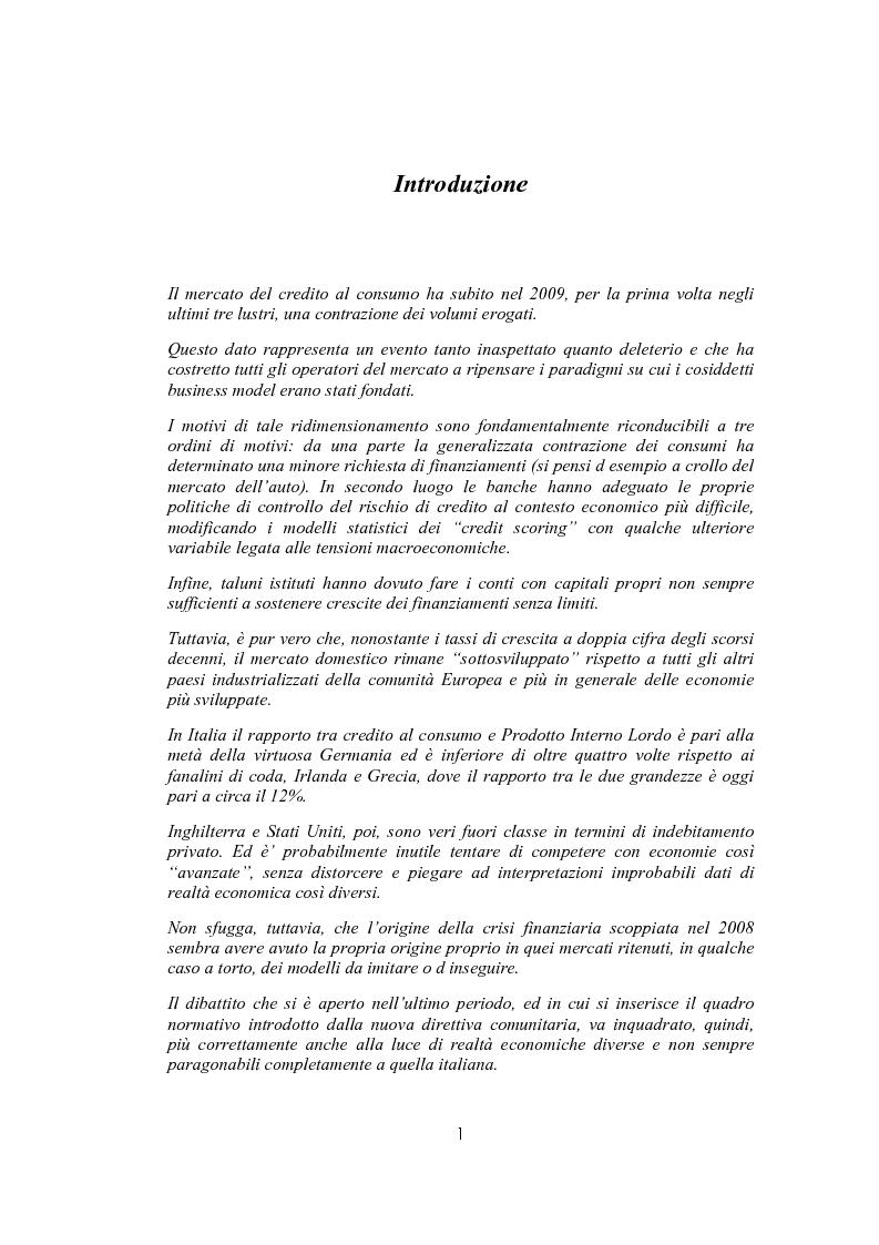 Anteprima della tesi: Il sovraindebitamento del consumatore e la protezione della nuova normativa europea, Pagina 1