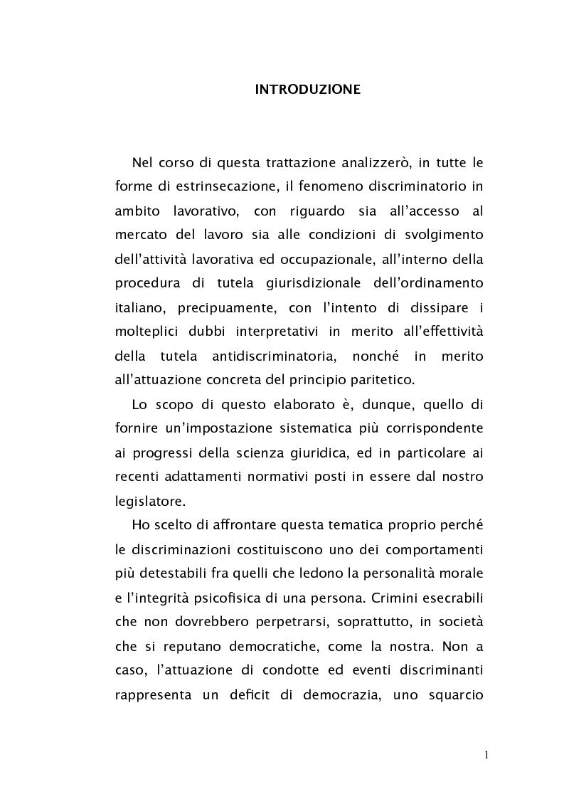 Anteprima della tesi: Diritto antidiscriminatorio: quadro normativo e problemi applicativi, Pagina 1