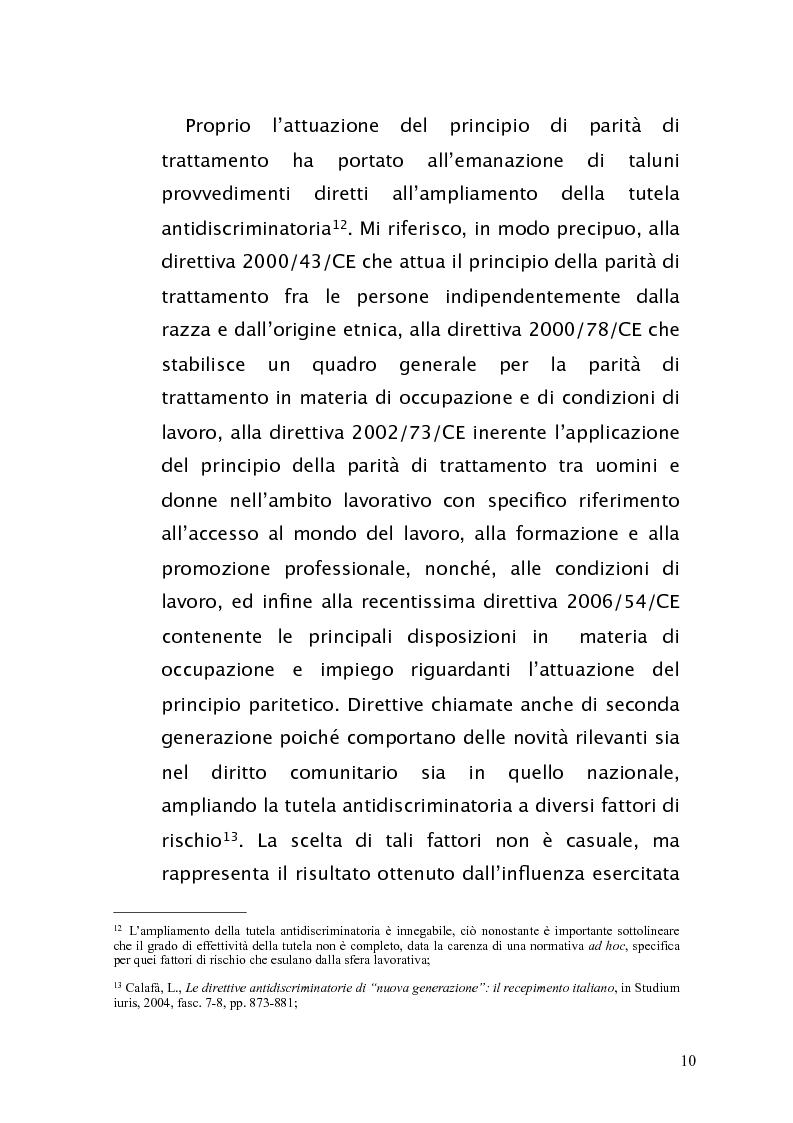 Anteprima della tesi: Diritto antidiscriminatorio: quadro normativo e problemi applicativi, Pagina 10