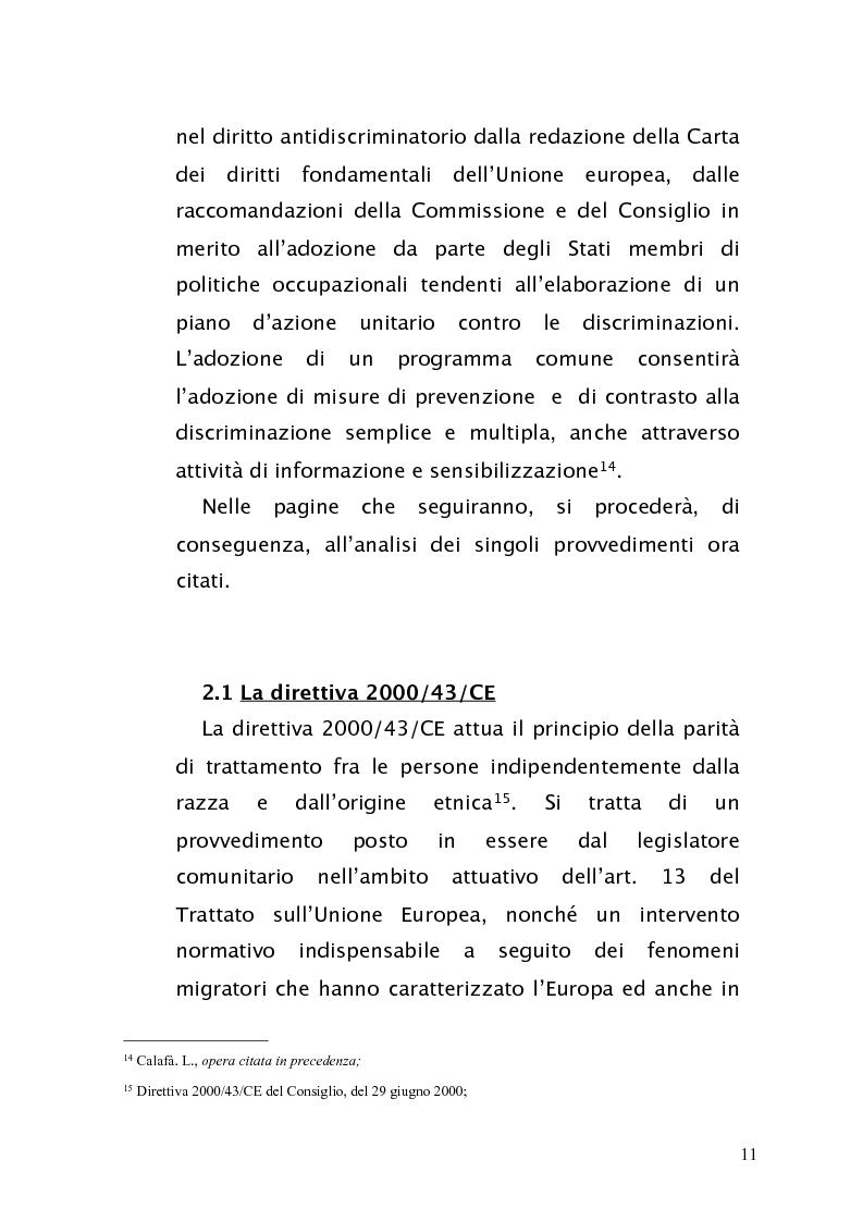 Anteprima della tesi: Diritto antidiscriminatorio: quadro normativo e problemi applicativi, Pagina 11