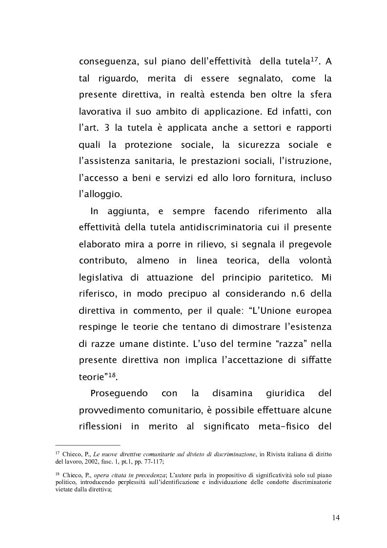 Anteprima della tesi: Diritto antidiscriminatorio: quadro normativo e problemi applicativi, Pagina 14