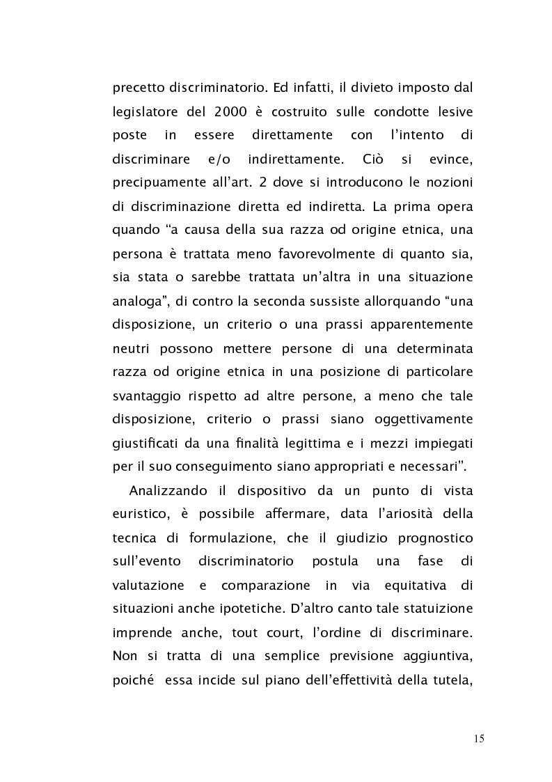 Anteprima della tesi: Diritto antidiscriminatorio: quadro normativo e problemi applicativi, Pagina 15