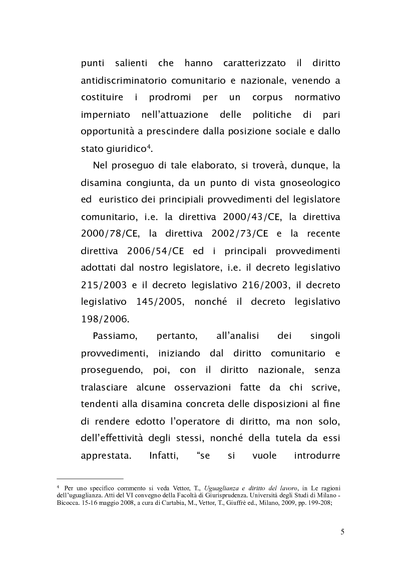 Anteprima della tesi: Diritto antidiscriminatorio: quadro normativo e problemi applicativi, Pagina 5