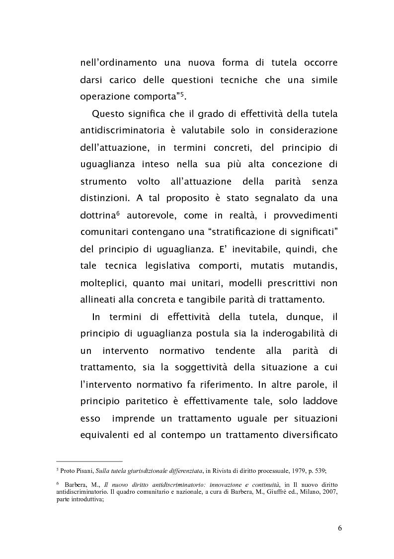 Anteprima della tesi: Diritto antidiscriminatorio: quadro normativo e problemi applicativi, Pagina 6