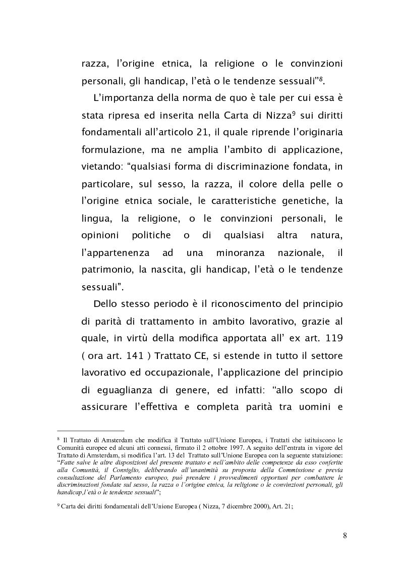 Anteprima della tesi: Diritto antidiscriminatorio: quadro normativo e problemi applicativi, Pagina 8