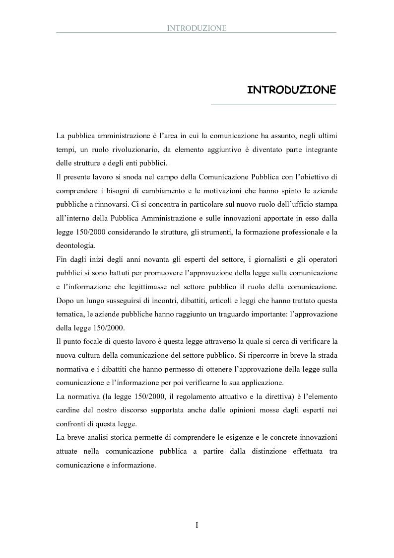 Anteprima della tesi: La pubblica amministrazione comunica: il ruolo dell'ufficio stampa, Pagina 1