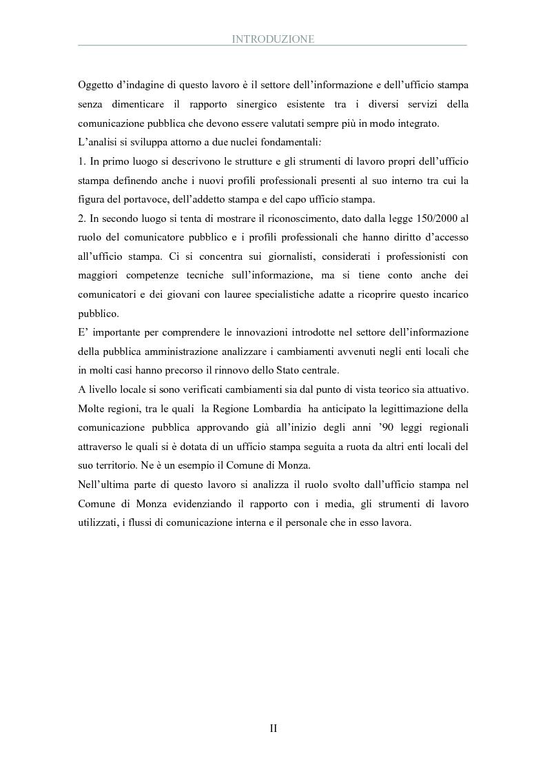 Anteprima della tesi: La pubblica amministrazione comunica: il ruolo dell'ufficio stampa, Pagina 2