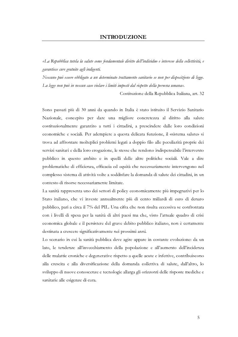 Anteprima della tesi: La valutazione delle politiche sanitarie in Italia. Ricognizione delle pratiche in uso nel Servizio Sanitario Nazionale e delle esperienze regionali., Pagina 1