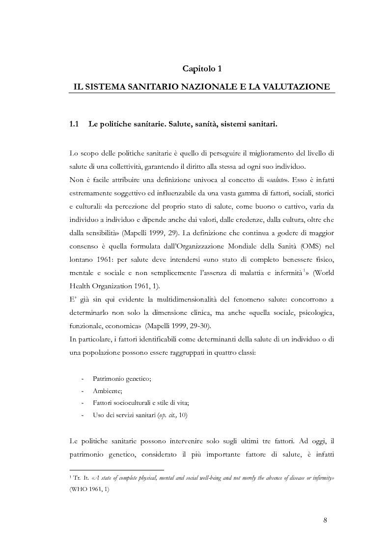 Anteprima della tesi: La valutazione delle politiche sanitarie in Italia. Ricognizione delle pratiche in uso nel Servizio Sanitario Nazionale e delle esperienze regionali., Pagina 4