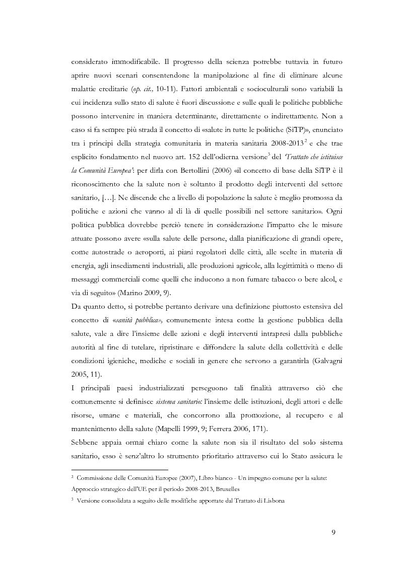 Anteprima della tesi: La valutazione delle politiche sanitarie in Italia. Ricognizione delle pratiche in uso nel Servizio Sanitario Nazionale e delle esperienze regionali., Pagina 5