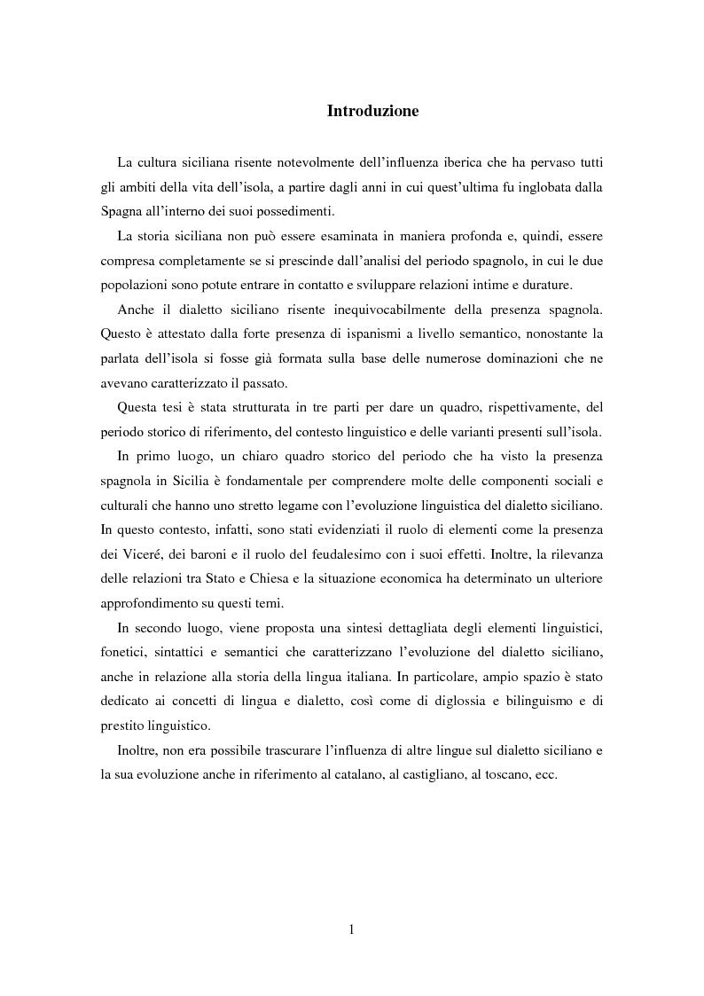 Anteprima della tesi: La dominazione spagnola in Sicilia: eredità linguistiche, Pagina 1