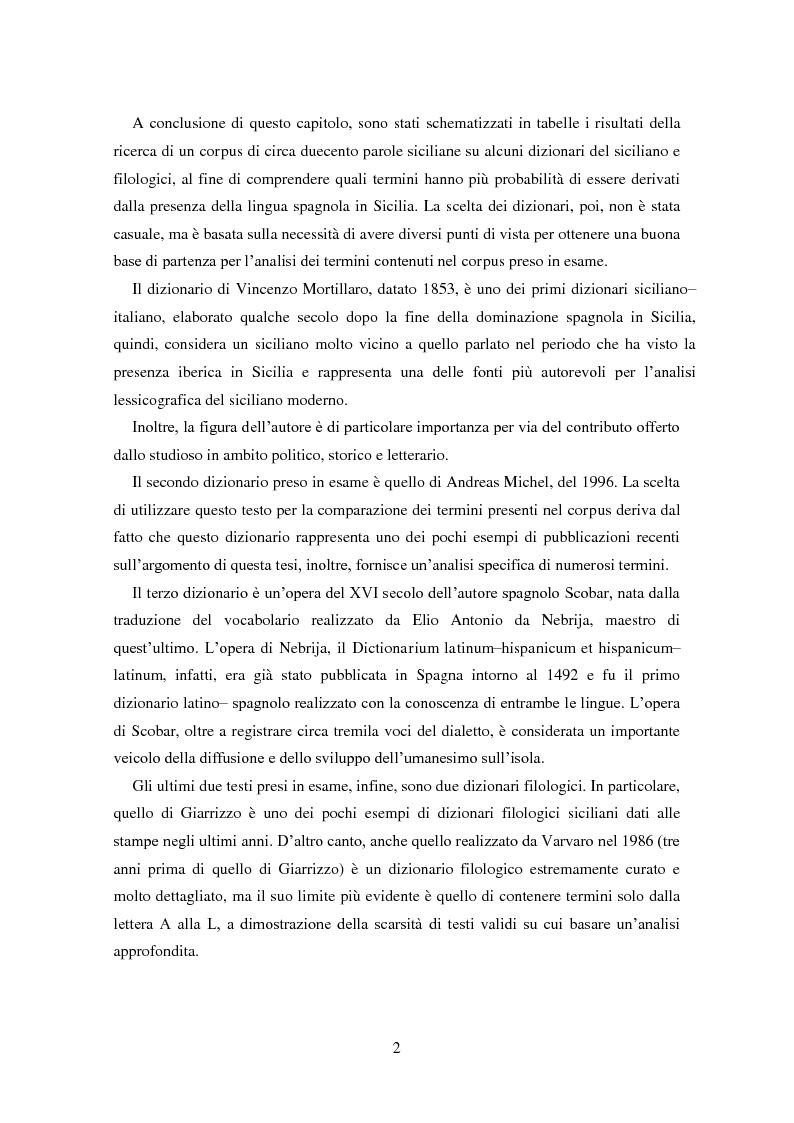Anteprima della tesi: La dominazione spagnola in Sicilia: eredità linguistiche, Pagina 2