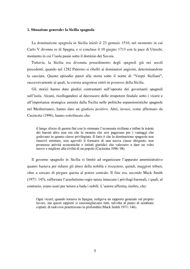 Anteprima della tesi: La dominazione spagnola in Sicilia: eredità linguistiche, Pagina 5