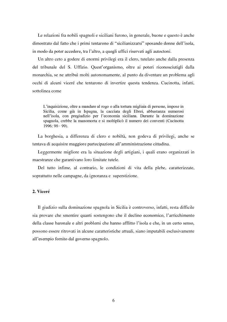 Anteprima della tesi: La dominazione spagnola in Sicilia: eredità linguistiche, Pagina 6