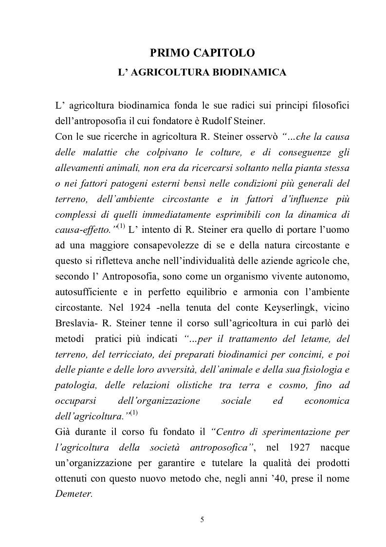 Anteprima della tesi: Comparazione tra sistemi agricoli: biodinamico, biologico, integrato, Pagina 5