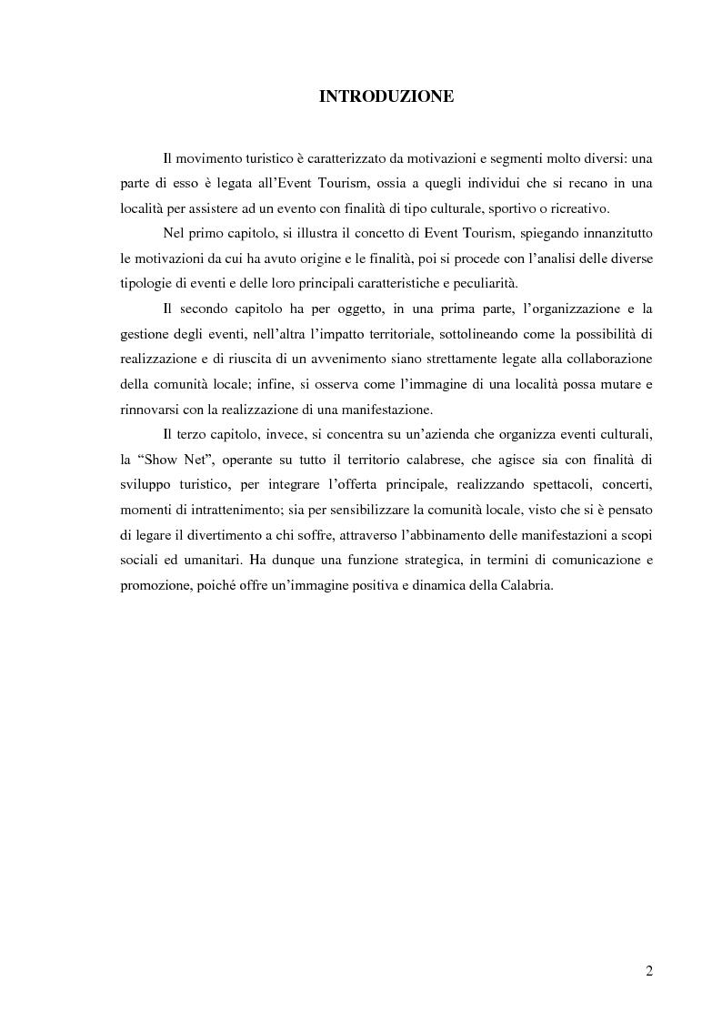 Anteprima della tesi: Il management degli eventi. Il caso della Show Net, Pagina 1