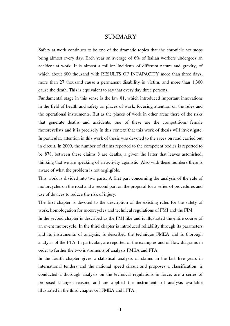 Anteprima della tesi: Miglioramento della sicurezza nelle competizioni motociclistiche: analisi comparata tra normativa vigente ed affidabilità dei sistemi, Pagina 1