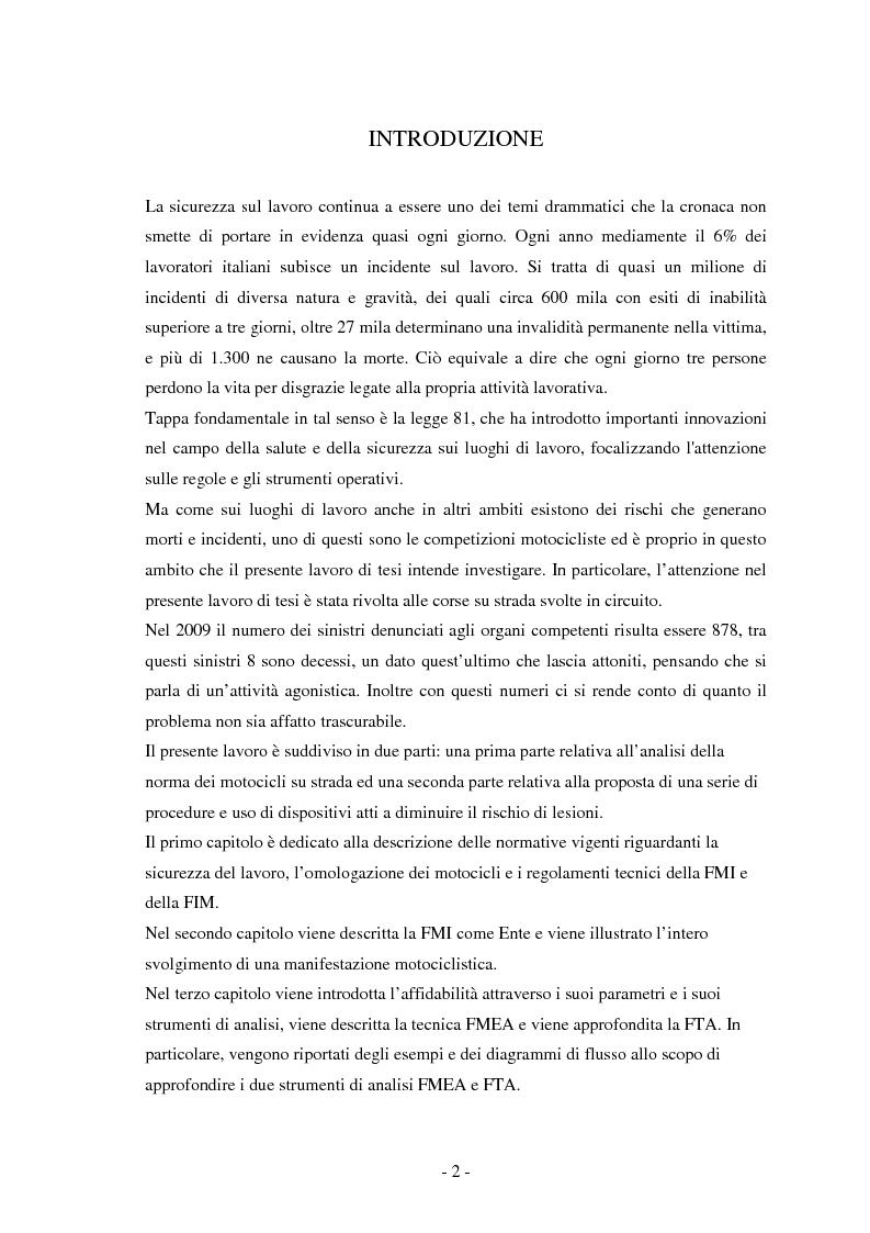 Anteprima della tesi: Miglioramento della sicurezza nelle competizioni motociclistiche: analisi comparata tra normativa vigente ed affidabilità dei sistemi, Pagina 2