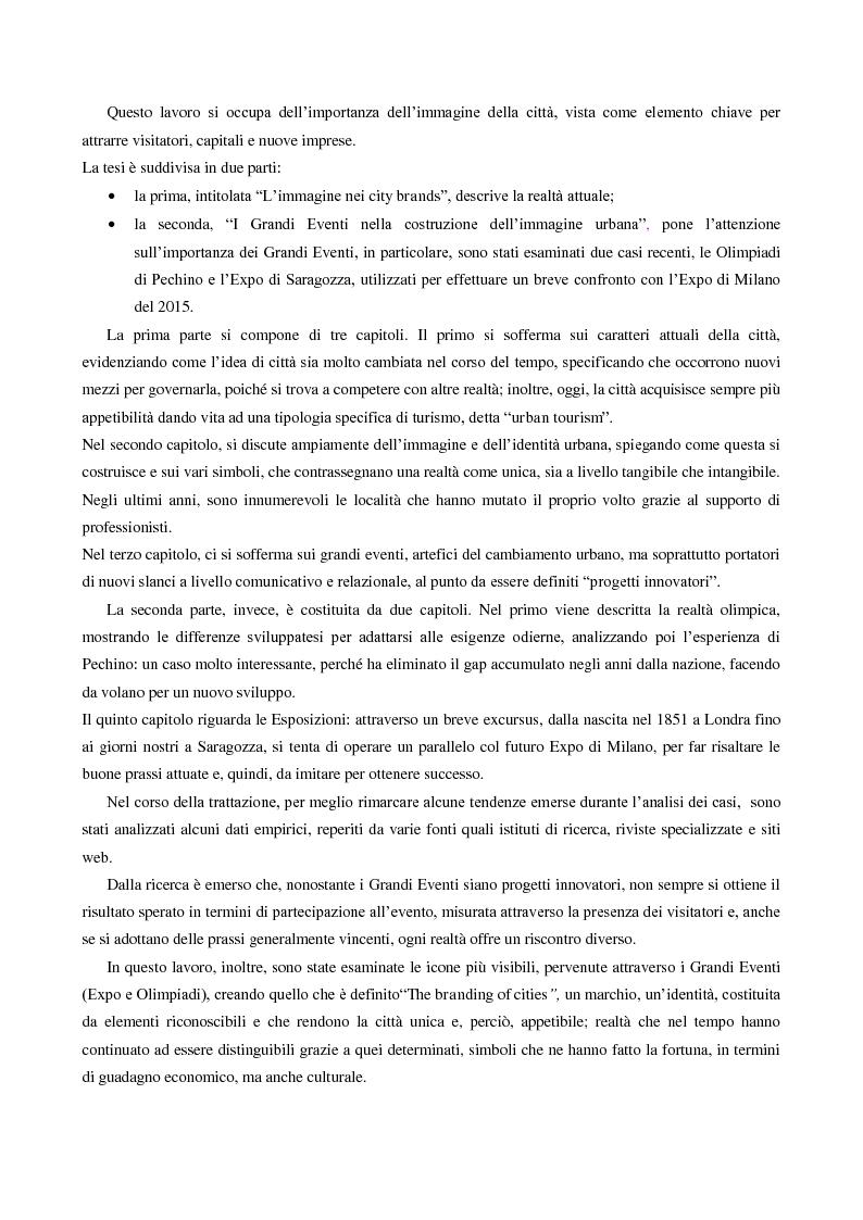 Anteprima della tesi: Grandi eventi e nuovi simboli. Per un'immagine vincente di città., Pagina 1