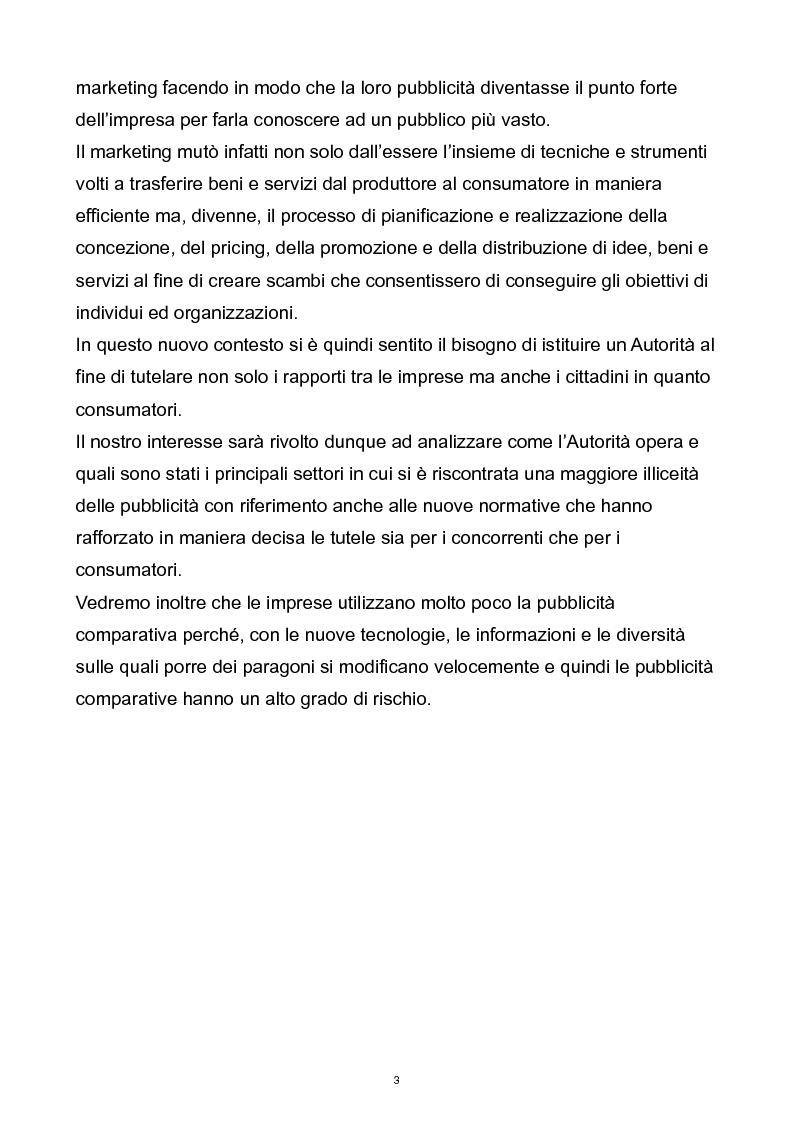Anteprima della tesi: Il controllo dell'autorità garante per la concorrenza e il mercato sulla pubblicità comparativa e ingannevole, Pagina 2
