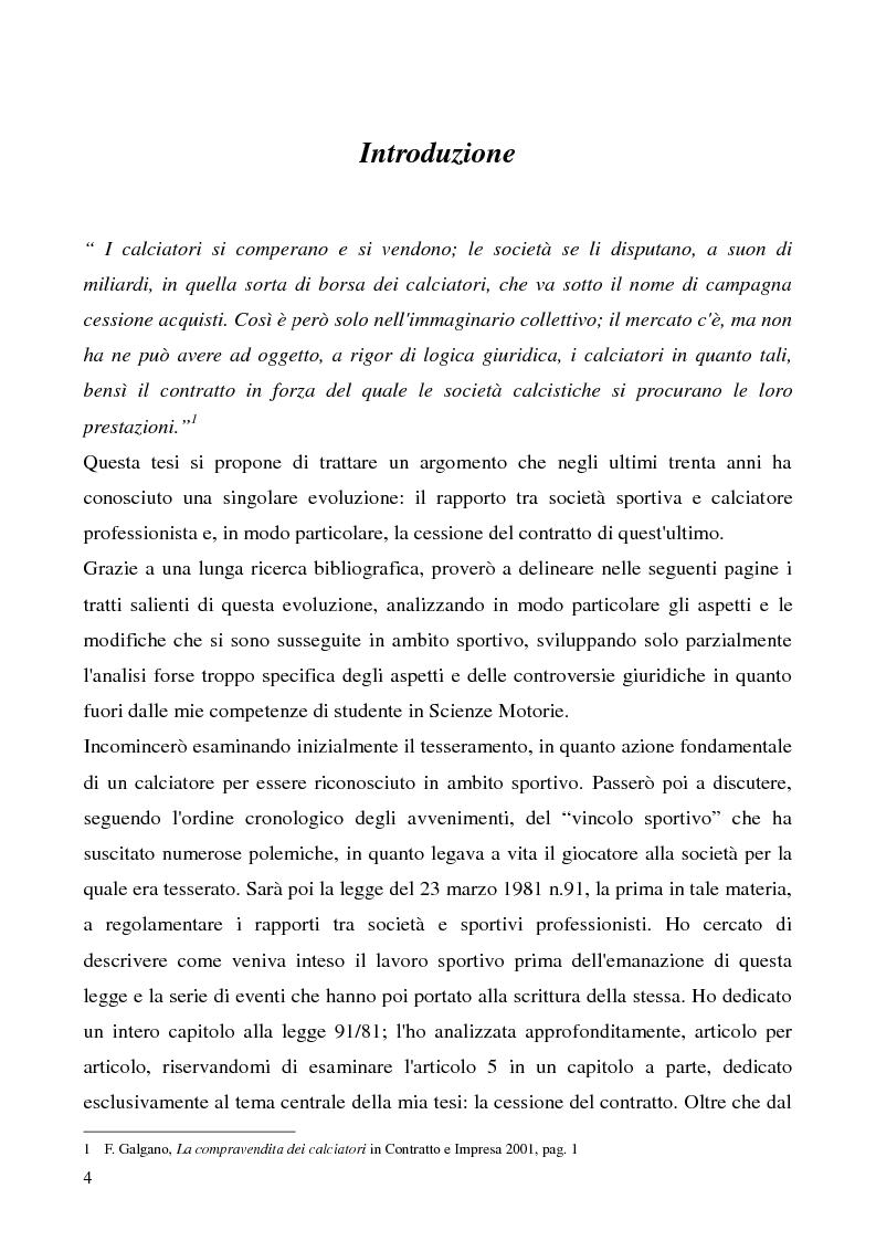 Anteprima della tesi: La cessione del contratto del calciatore, Pagina 1