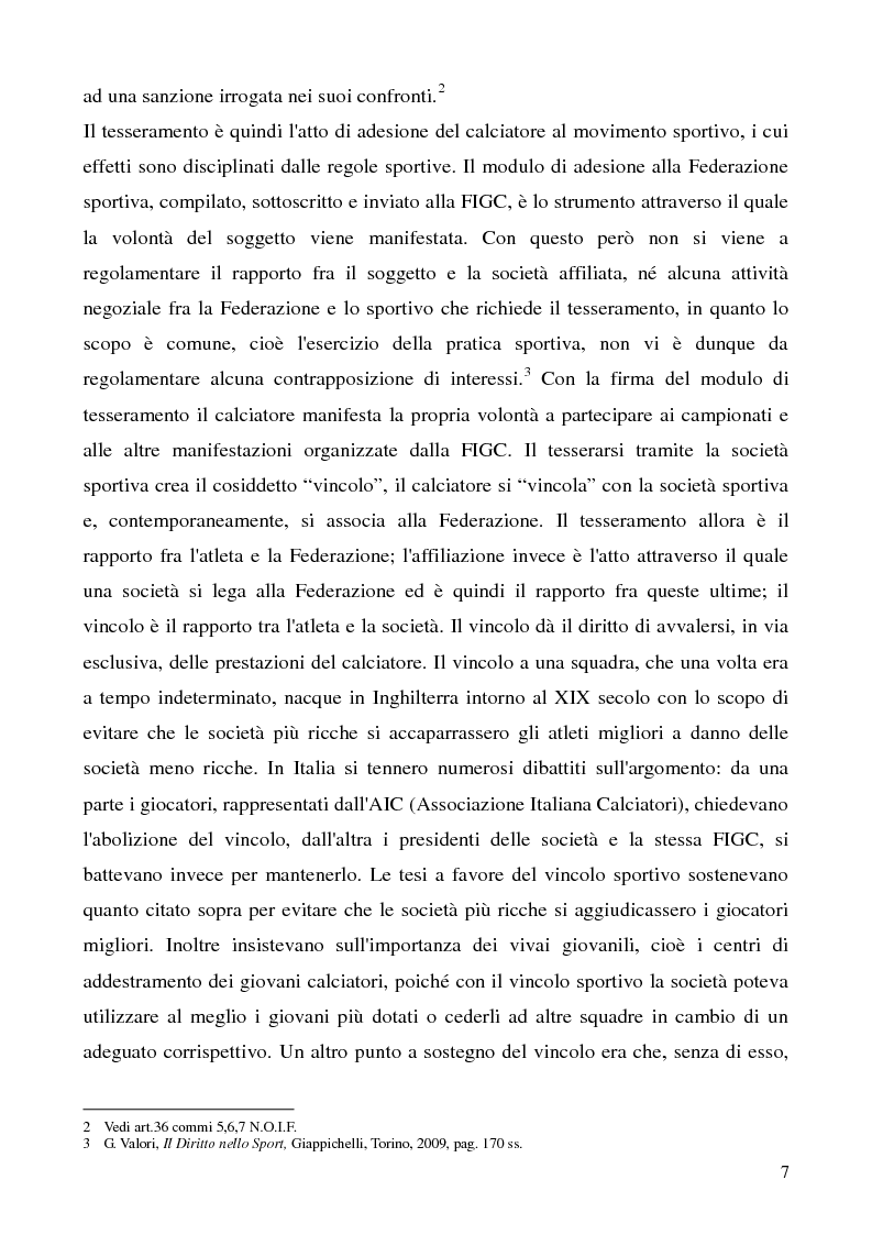 Anteprima della tesi: La cessione del contratto del calciatore, Pagina 4
