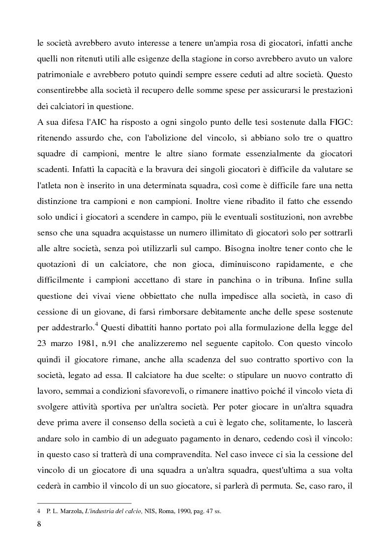 Anteprima della tesi: La cessione del contratto del calciatore, Pagina 5