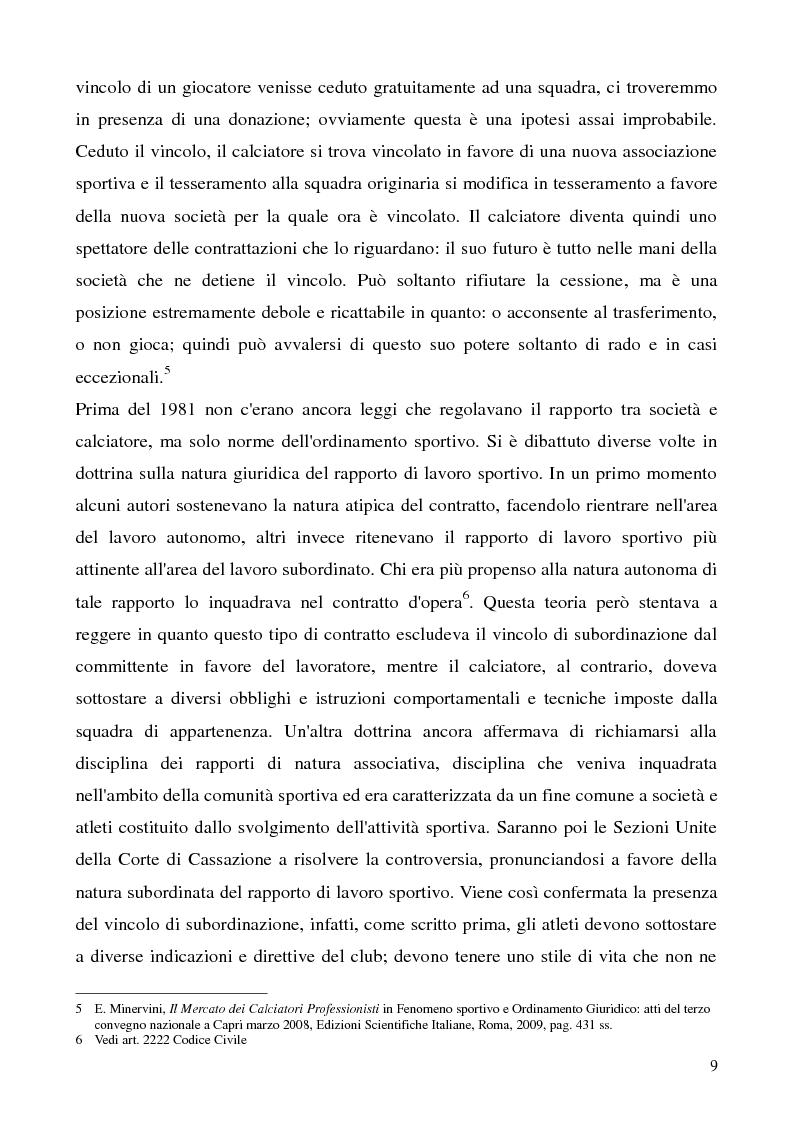 Anteprima della tesi: La cessione del contratto del calciatore, Pagina 6