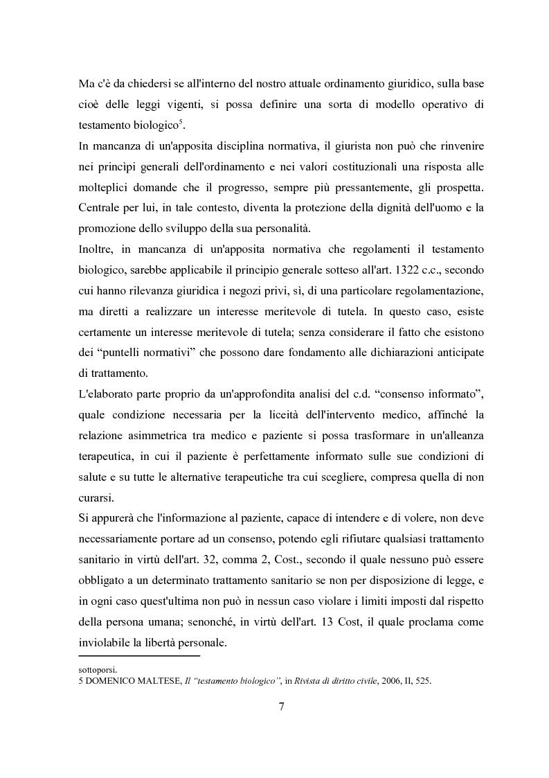 Anteprima della tesi: Il testamento biologico, Pagina 3