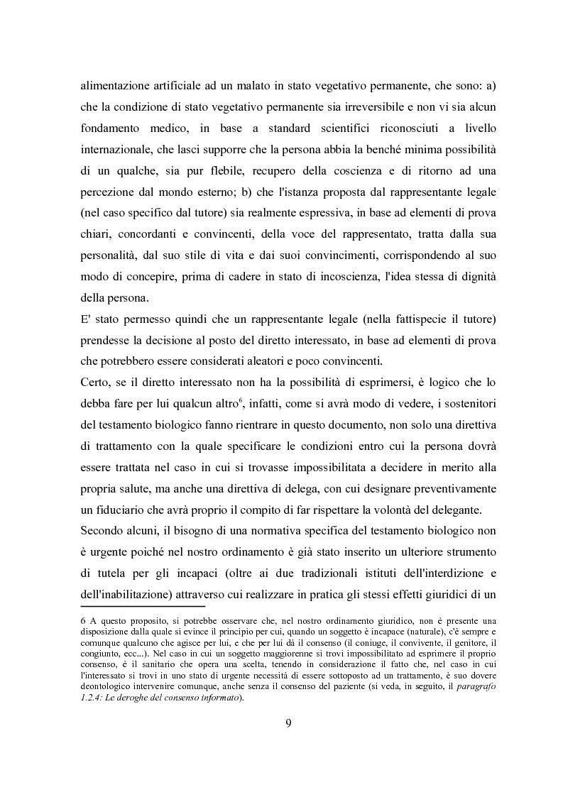 Anteprima della tesi: Il testamento biologico, Pagina 5