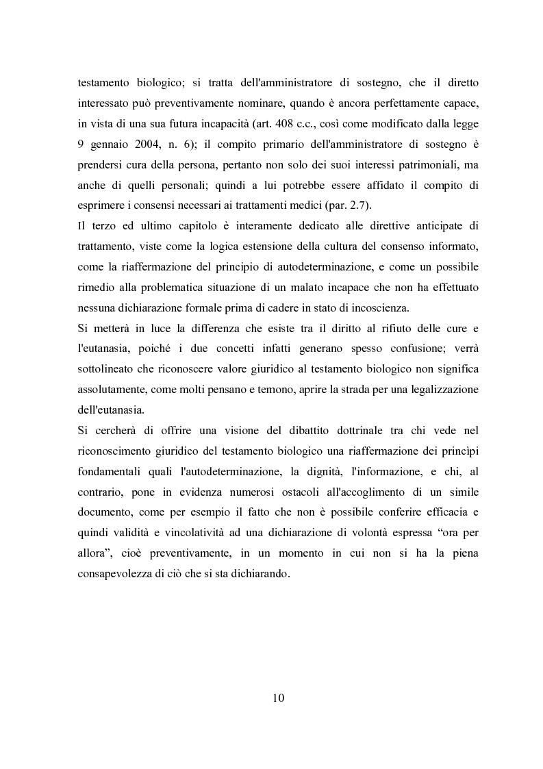 Anteprima della tesi: Il testamento biologico, Pagina 6